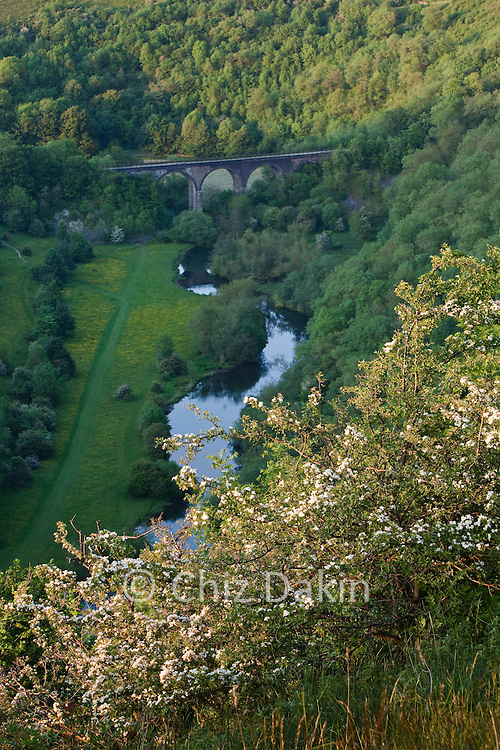 Monsal Viaduct in spring from access land near Fin Cop