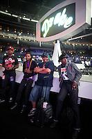 Justin Bieber's band Melly Baldwin, Bernard Harvey, Wizard, Tomi Maritin during Justin Bieber rehearsals for the MTV Video Music Awards in Los Angeles.  (MANDATORY CREDIT:  Robert Caplin / PSG)  **EXCLUSIVE : DOUBLE SPACE RATES APPLY.  CALL 646.325.3221 PRIOR TO PUBLICATION** Tomi Martin<br /> <br /> Photo © Robert Caplin<br /> robert@robertcaplin.com