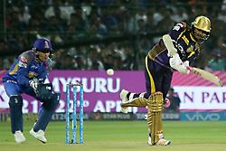 April 18, 2018 - Jaipur, Rajasthan, India - Kolkata Knight Riders batsman Sunil Narine plays a shot during the IPL T20 match against Rajasthan Royals at Sawai Mansingh Stadium in Jaipur on 18 April,2018.(Photo By Vishal Bhatnagar/NurPhoto) (Credit Image: © Vishal Bhatnagar/NurPhoto via ZUMA Press)