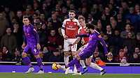 Football - 2018 / 2019 Premier League - Arsenal vs. Liverpool<br /> <br /> Mohamed Salah (Liverpool FC) tries his luck from distance  at The Emirates.<br /> <br /> COLORSPORT/DANIEL BEARHAM