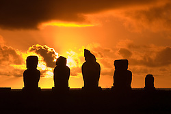 Chile, Easter Island: Stautues or moai at the platform or ahu named Ahu Tahai, near the town of Hanga Road..Photo #: ch202-32617.Photo copyright Lee Foster www.fostertravel.com lee@fostertravel.com 510-549-2202