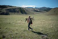 Boy scouts pick up antlers shed on the National Elk Refuge