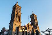 The Roman Catholic Puebla Cathedral in the central City Plaza called the Zocalo de Puebla in Puebla, Mexico.