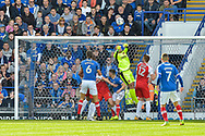 Fleetwood Town Goalkeeper, Alex Cairns (21) punches out a corner during the EFL Sky Bet League 1 match between Portsmouth and Fleetwood Town at Fratton Park, Portsmouth, England on 16 September 2017. Photo by Adam Rivers.