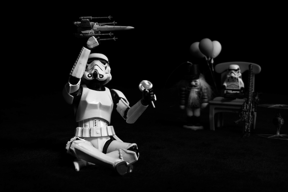 A Stormtrooper takes a break from conquering the Galaxy