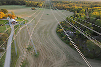 Power lines criss-crossing the countryside, Uppland, Sweden