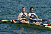 Munich, GERMANY, GBR W2- Bow Georgina MENHENEOTT and Baz MOFFATT, during the FISA World Cup at the Munich Olympic Rowing Course, Thur's.  08.05.2008  [Mandatory Credit Peter Spurrier/ Intersport Images] Rowing Course, Olympic Regatta Rowing Course, Munich, GERMANY