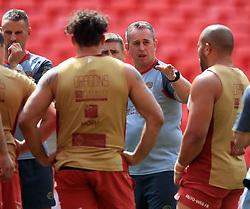 Catalan Dragons' Coach Steve McNamara during the captain's run at Wembley Stadium, London.