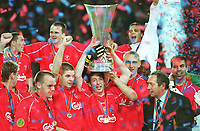 FC Liverpool UEFA-Cup Sieger 2001  hinten v.l.Nick BARMBY ,Dietmar HAMANN, Patrik BERGER<br />   vorne v.l. Danny MURPHY , Steven GERRARD , Robbie FOWLER,Danny MURPHY , Gerard HOULLIER
