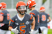 KELOWNA, BC - SEPTEMBER 22:  Keiran Carter #5 of Okanagan Sun warms up against the Valley Huskers at the Apple Bowl on September 22, 2019 in Kelowna, Canada. (Photo by Marissa Baecker/Shoot the Breeze)