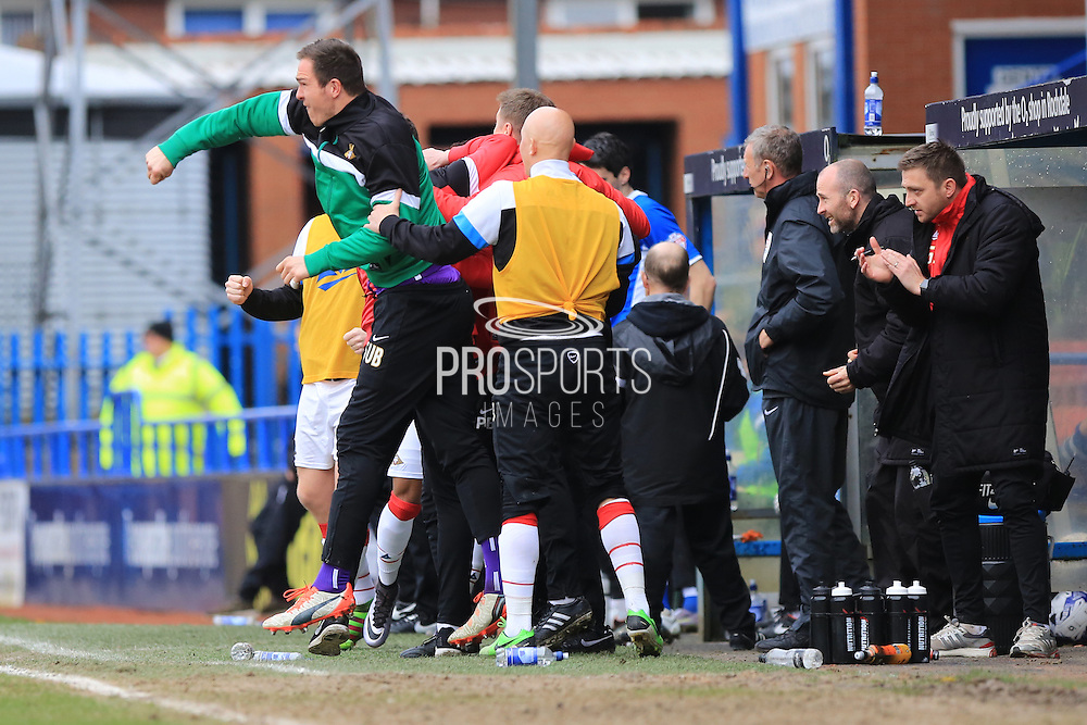 Doncaster bench celebrate Andy Butler goal 1-2 during the Sky Bet League 1 match between Rochdale and Doncaster Rovers at Spotland, Rochdale, England on 2 April 2016. Photo by Daniel Youngs.
