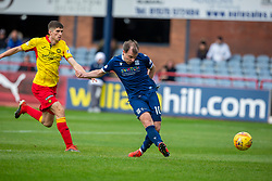 Dundee's Paul McGowan scoring their first half goal. half time : Dundee 1 v 0 Partick Thistle, Scottish Championship game player 19/10/2019 at Dundee stadium Dens Park.