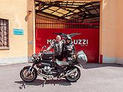 Madello del Lario, Lecco: bikers in front of the old Moto Guzzi entrance