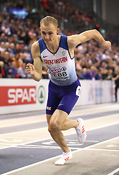 Great Britain's Jamie Webb at the start of the Men's 800m Final during day three of the European Indoor Athletics Championships at the Emirates Arena, Glasgow.