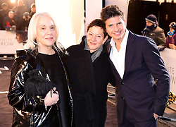 Carolyn Marks Blackwood (left), Gabrielle Tana and Oleg Ivenko (right) attending The White Crow UK Premiere held at the Curzon Mayfair, London.
