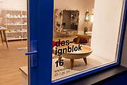 Stylish East European design and furniture in Designblok on Veverkova street in the hipster Holesovice district, Prague 7, on 19th March, 2018, in Prague, the Czech Republic.