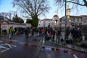 A view of London Central Mosque after its imam in his 70s has been stabbed prior to an afternoon prayer near Regent's Park on Thursday, Feb. 20, 2020. (AP Photo/Vudi Xhymshiti)
