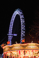 christmas lights at night in london england