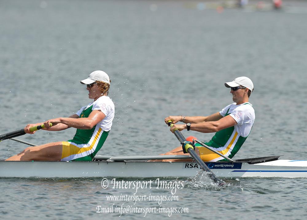 Trackai. LITHUANIA. ..Men's pair semi final RSA BM2- USA BM2-.  2012 FISA U23 World Rowing Championships.  Lake Galve. ..14:12:03  Saturday  14/07/2012 [Mandatory Credit: Peter Spurrier/Intersport Images]..Rowing. 2012. U23.