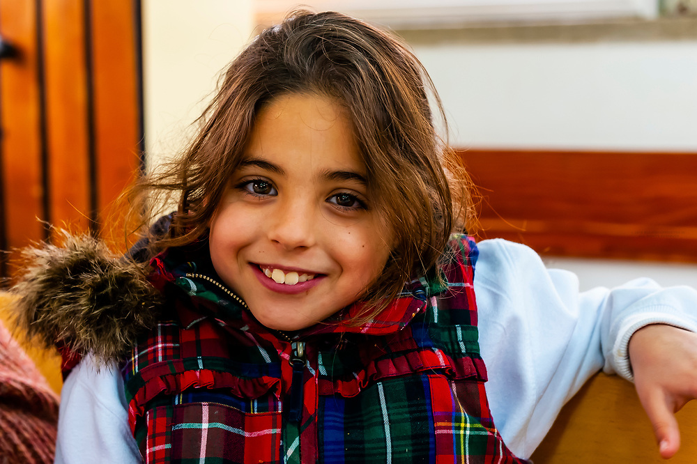 An Israeli girl eating lunch in the cafeteria of the Kibbutz Sde Boker in the Negev Desert in Southern Israel.