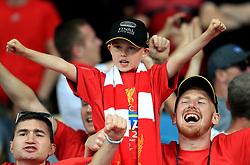 A young Liverpool fan in the stands prior to the UEFA Champions League Final at the NSK Olimpiyskiy Stadium, Kiev. PRESS ASSOCIATION Photo. Picture date: Saturday May 26, 2018. See PA story SOCCER Champions League. Photo credit should read: Mike Egerton/PA Wire