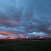 sunrise on glacier national park, summit, rising wolf, east glacier park, blackfeet reservation, usa, montana
