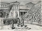 Artist's reconstruction of a theatrical performance in Ancient Greece. Chorus in front below raised stage. Engraved 1878.