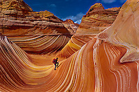 "Hiker exploring ""The Wave"", Coyote Buttes, Paria Canyon-Vermillion Cliffs Wilderness Area, Utah-Arizona border, USA"