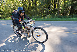 Harley-Davidson Museum Archive Restorer/Conservator Bill Rodencal of Wisconsin on his 1915 Harley-Davidson during the Motorcycle Cannonball Race of the Century. Stage-3 from Morgantown, WV to Chillicothe, OH. USA. Monday September 12, 2016. Photography ©2016 Michael Lichter.