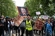 Mcc0095336 . Daily Telegraph<br /> <br /> DT News<br /> <br /> Hundreds of protestors gathered in Hyde Park today . Many were opposed to lockdown , others vaccinations, tracking and 5g conspiracy theorists . A number of arrests were made by the police<br /> <br /> London 16 May 2020