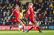 Burton Albion forward Lucas Akins  (10) shoots at goal during the EFL Sky Bet League 1 match between Burton Albion and Accrington Stanley at the Pirelli Stadium, Burton upon Trent, England on 23 March 2019.