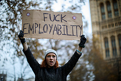 © Licensed to London News Pictures. 19/11/2016. London, UK. Students protest over access and quality of higher education in Victoria Tower Gardens in central London on 19 November 2016. 'United for Education' demonstration has been organised by the NUS and the University and College Union (UCU), calling for free, accessible and quality further and higher education across the UK as students and education staff march from Park Lane to Millbank. Photo credit: Tolga Akmen/LNP