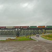 A train crosses the Missouri River near Great Falls, Montana.