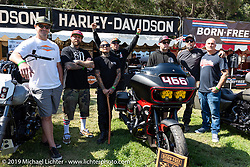Some of the builders in the Born Free 11 Harley-Davidson Build-Off bagger project included (L>R) Robbie Lane (Alloy Art), Mikey Van Senus (San Diego Customs), Shaun Guardado (Suicide Machine Co), Chip Kastelnik (San Diego Customs), Jimmy Light (Horsepower Inc), Brandon Holstein (Speed Merchant) and Justin McGinnis (Alloy Art). Born-Free Vintage Motorcycle show at Oak Canyon Ranch, Silverado, CA, USA. Sunday, June 23, 2019. Photography ©2019 Michael Lichter.