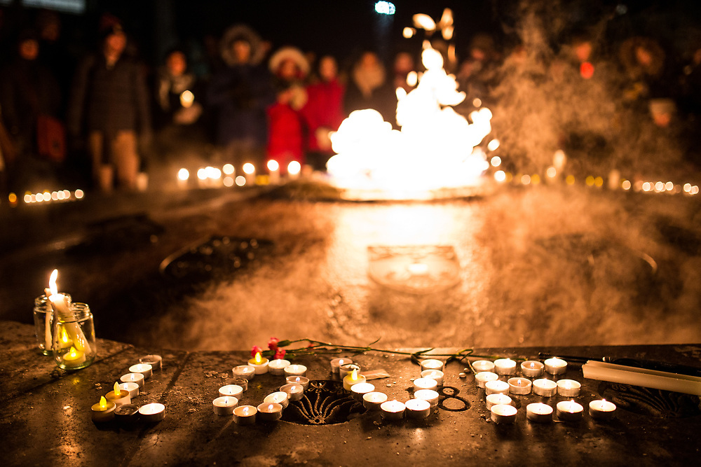On January 30th 2017, a vigil for the victims of the Quebec mosque shooting was organized.  Candles were lit as people gathered around the centennial flame on Parliament Hill.