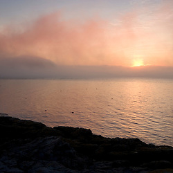 Frenchman Bay as seen from Dorr's Point in Maine's Acadia National Park.  Mount Desert Island.  Sunrise.....