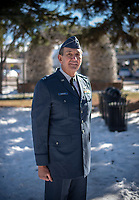 Ed Liebzeit wears the uniform from his five years of service in the Air Force from 1965-1970. Liebzeit, who served two tours in Vietnam from 1966-1968, wanted a photograph of himself in uniform to give to his newborn grandson.