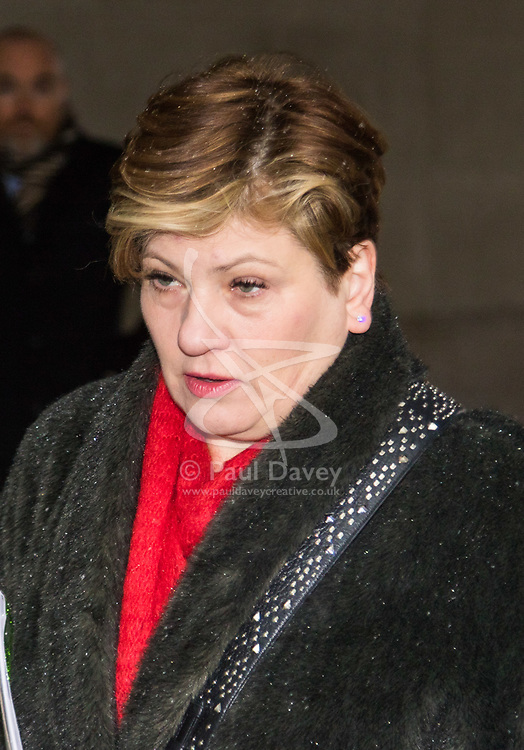 London, December 10 2017. Shadow Foreign Secretary Emily Thornberry arrives at the BBC's Broadcasting House in London to appear on the Sunday Politics show. © Paul Davey