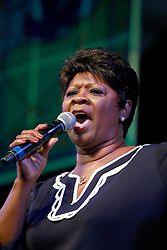 03 May 2013. New Orleans, Louisiana,  USA. .New Orleans Jazz and Heritage Festival. .Irma Thomas sings a tribute to Mahalia Jackson in the Gospel tent..Photo; Charlie Varley.