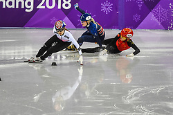 February 17, 2018 - Pyeongchang, Gangwon, South Korea - Choi Minjeong of  South Korea, Li Jinyu of  China and Elise Christie of  Great Britain competing in 1500 meter speed skating for women at Gangneung Ice Arena, Gangneung, South Korea on 17 February 2018. (Credit Image: © Ulrik Pedersen/NurPhoto via ZUMA Press)