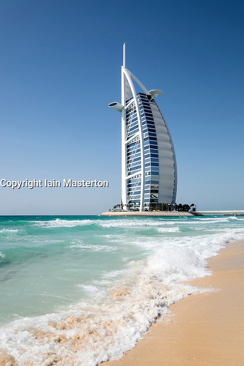 Luxury Burj al Arab hotel and beach in Dubai United Arab Emirates