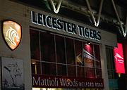 General view outside the The Mattioli Woods Welford Road Stadium before a Gallagher Premiership Round 7 Rugby Union match, Friday, Jan. 29, 2021, in Leicester, United Kingdom. (Steve Flynn/Image of Sport)