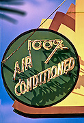 An Art Deco sign -- probably from the 1940s -- advertising air conditioned rooms at The Henrosa, a small hotel on Miami Beach's historic Collins Avenue in South Beach. The sign was recently renovated and preserved.