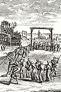 the execution of the Gorcum martyrs, after gruesome torture, sentenced to death and hanged near den Briel, July 1572. The Martyrs of Gorkum were a group of 19 Catholics in the sixteenth century who suffered martyrdom for Catholicism in the Dutch town of Gorinchem or Gorcum.