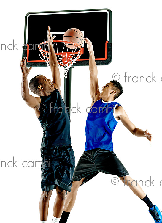 two basketball players men Isolated on white background