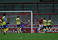 Football - 2020 / 2021 Emirates FA Cup - Second Round: Morecambe vs. Solihull Moors<br /> <br /> Mitch Hancox of Solihull Moors scores an own goal to make the score 4-2 to Morecambe in extra time, at the Mazuma Stadium.<br /> <br /> COLORSPORT/ALAN MARTIN