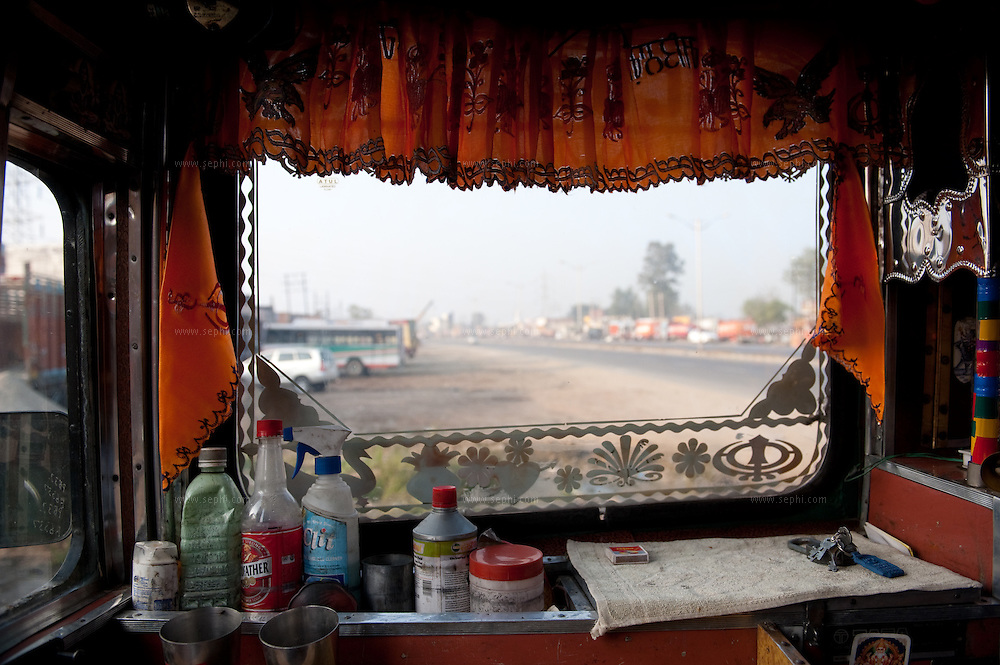 A truck interior with the needs on the travel.
