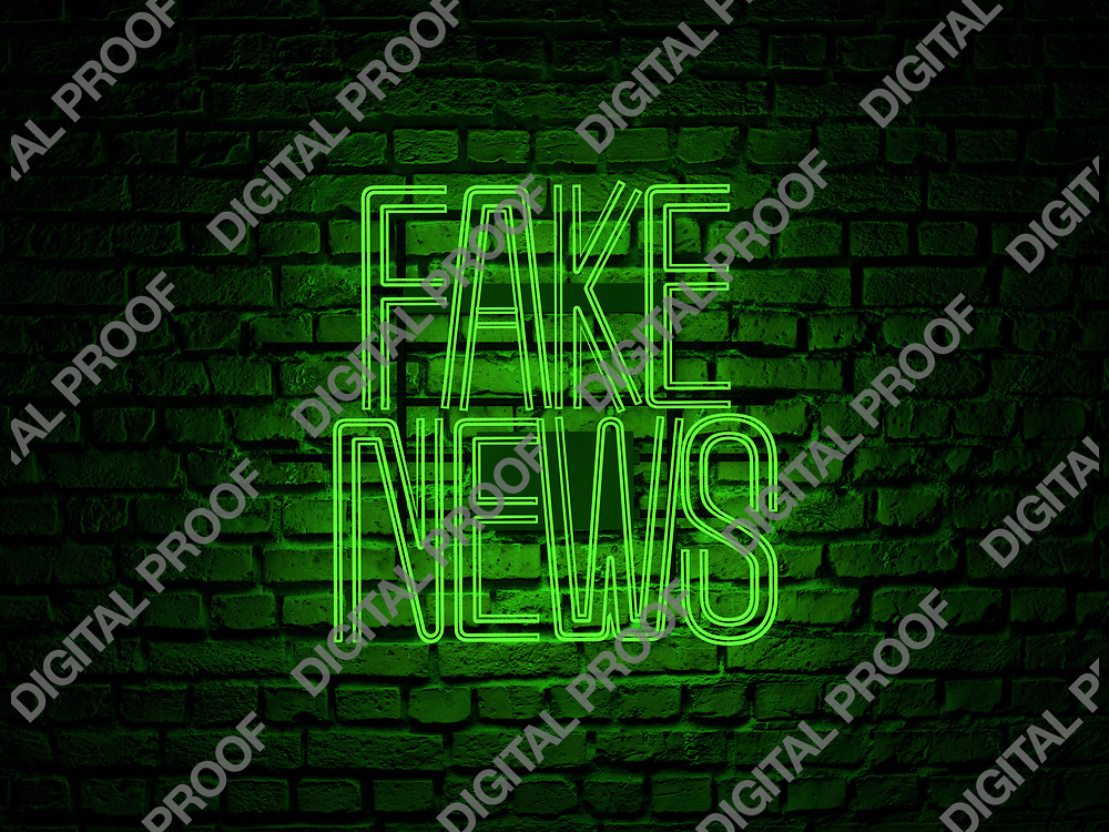 Fake News Neon Sign green color over a red brick wall at dark - Illustration Computer Rendered - Illustration