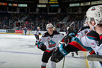 KELOWNA, BC - JANUARY 3:  Kaedan Korczak #6 of the Kelowna Rockets celebrates a second period goal against the Victoria Royals at Prospera Place on January 3, 2020 in Kelowna, Canada. (Photo by Marissa Baecker/Shoot the Breeze)