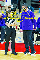NORMAL, IL - February 27: Female official Amy Bonner speaks with Ben Jacobson during a college basketball game between the ISU Redbirds and the Northern Iowa Panthers on February 27 2021 at Redbird Arena in Normal, IL. (Photo by Alan Look)